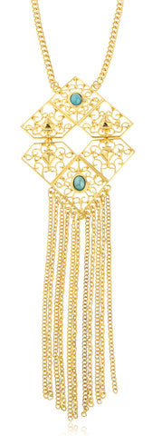 Goldtone Long Reverse Double Diamond Shaped Pendant Chain Necklace