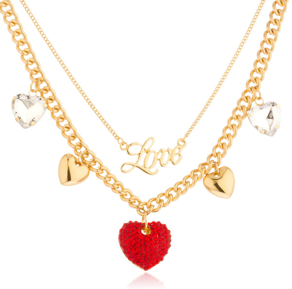 Goldtone Love Layered Necklace With Dangling Multi Heart Charms