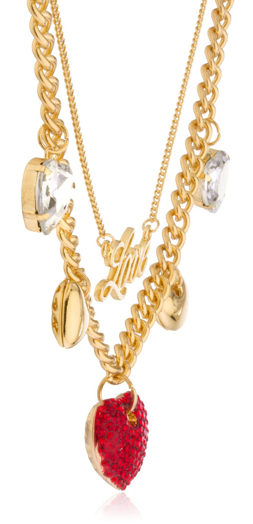 Goldtone Love Layered Necklace With Dangling...