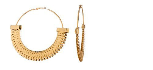 Goldtone Mesh Armor Pattern Extra Large 3.15 Inch Hoop Earrings