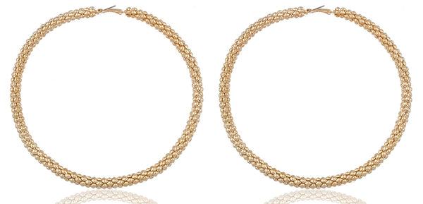 Goldtone Mesh Pattern Extra Large 4.75 Inch Hoop Earrings