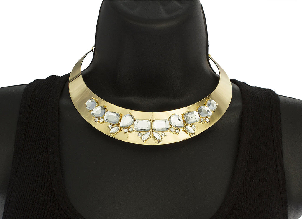 Goldtone Metal Choker With Clear Stone...