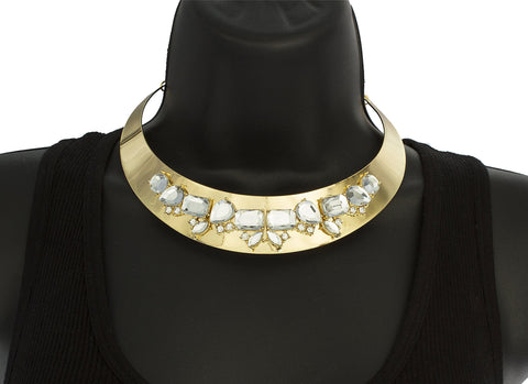 Goldtone Metal Choker With Clear Stone Shapes