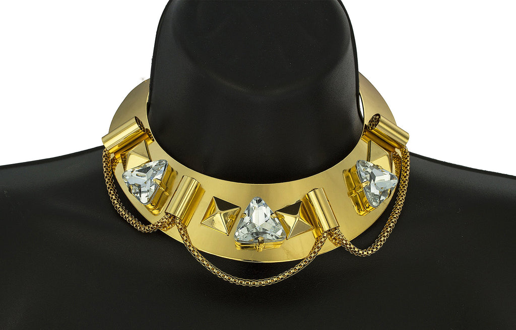 Goldtone Metal Choker With Multi-shape Designs...
