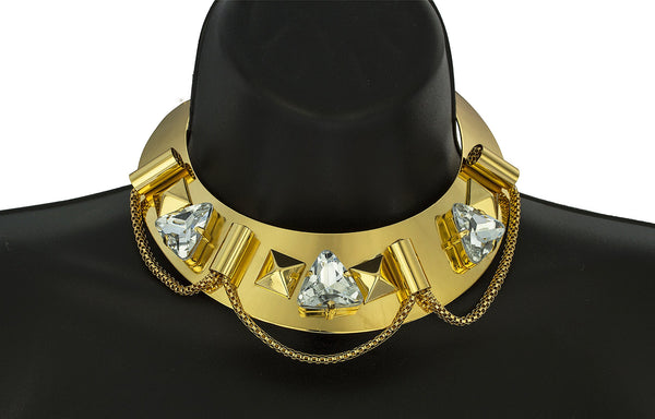 Goldtone Metal Choker With Multi-shape Designs