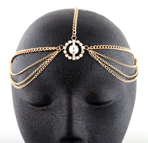 Goldtone Metal Head Chain With A Large Centered Encircled Stone