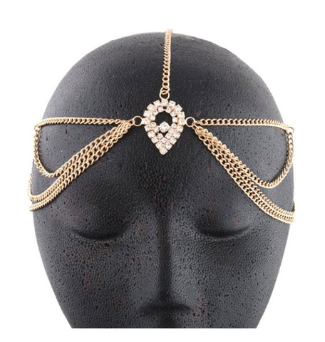 Goldtone Metal Head Chain With A Large Centered Teardrop Style