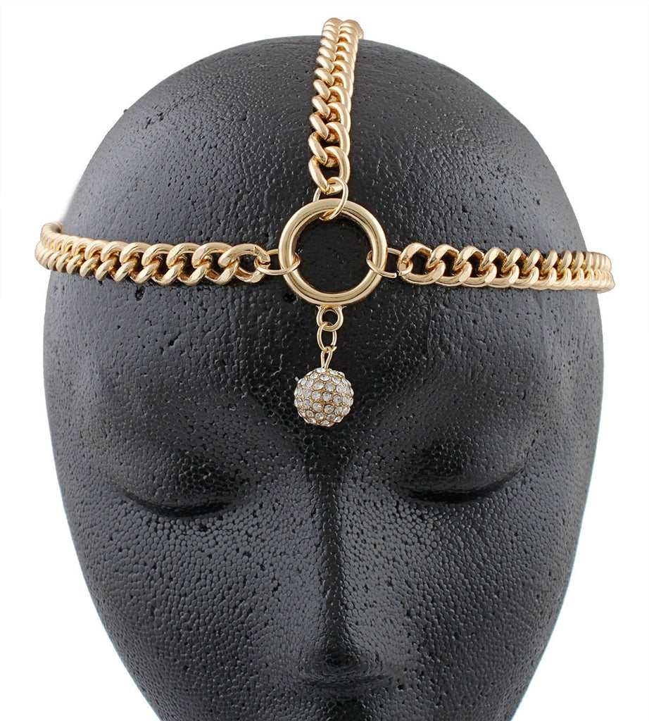 Goldtone Metal Head Chain With Stoned...