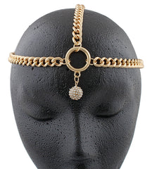 Goldtone Metal Head Chain With Stoned Bead