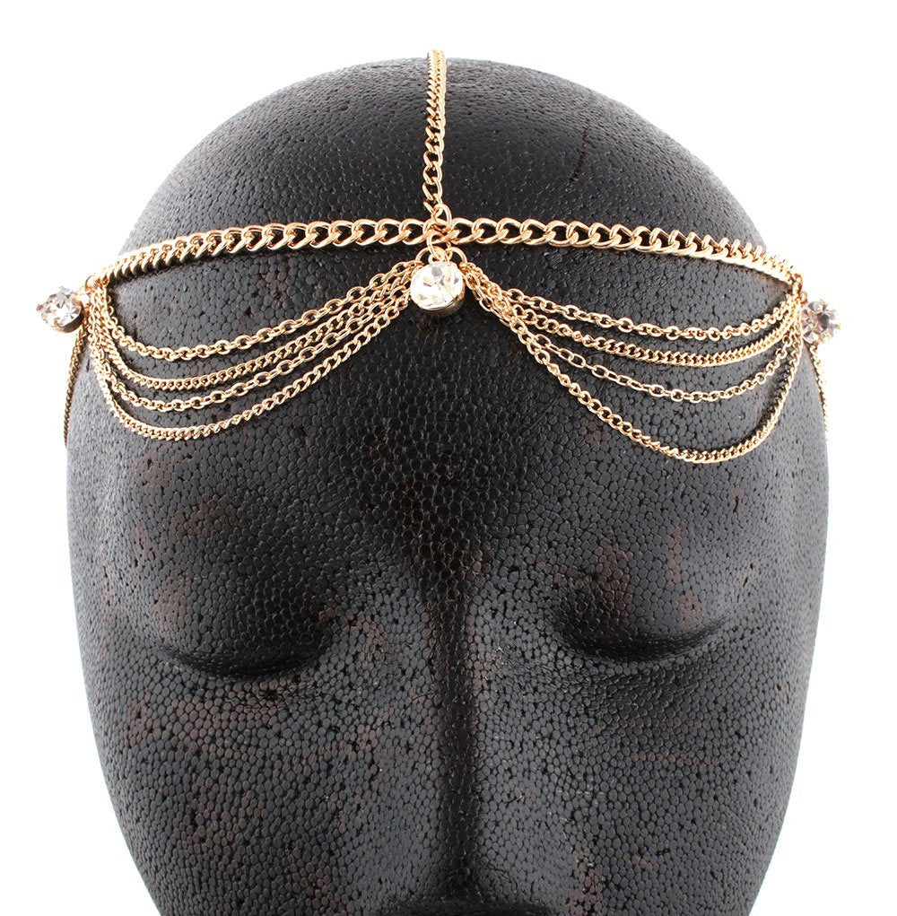 Goldtone Metal Head Chain With Studs...