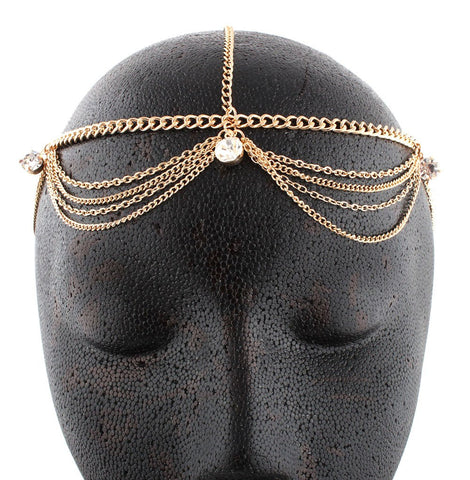 Goldtone Metal Head Chain With Studs