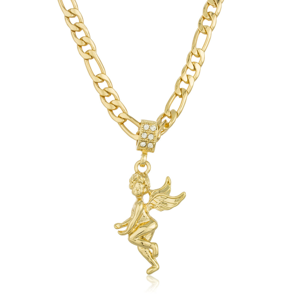 Goldtone Micro Angel Pendant With Stones...