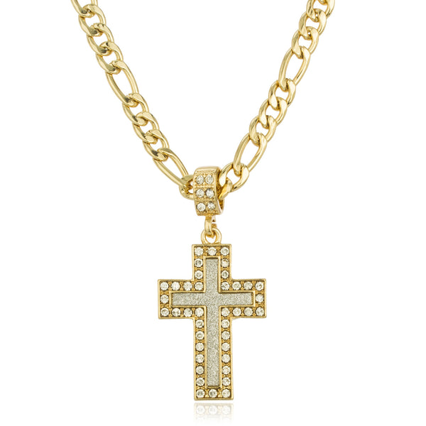 Goldtone Micro Iced Out Sandblasted Cross Pendant With Stones And A 24 Inch Figaro Necklace