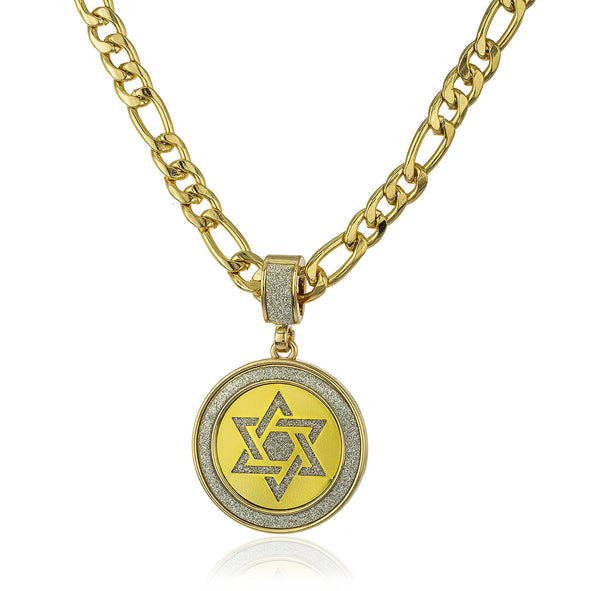 Goldtone Micro Iced Out Sandblasted Jewish Star Pendant And A 24 Inch Figaro Necklace