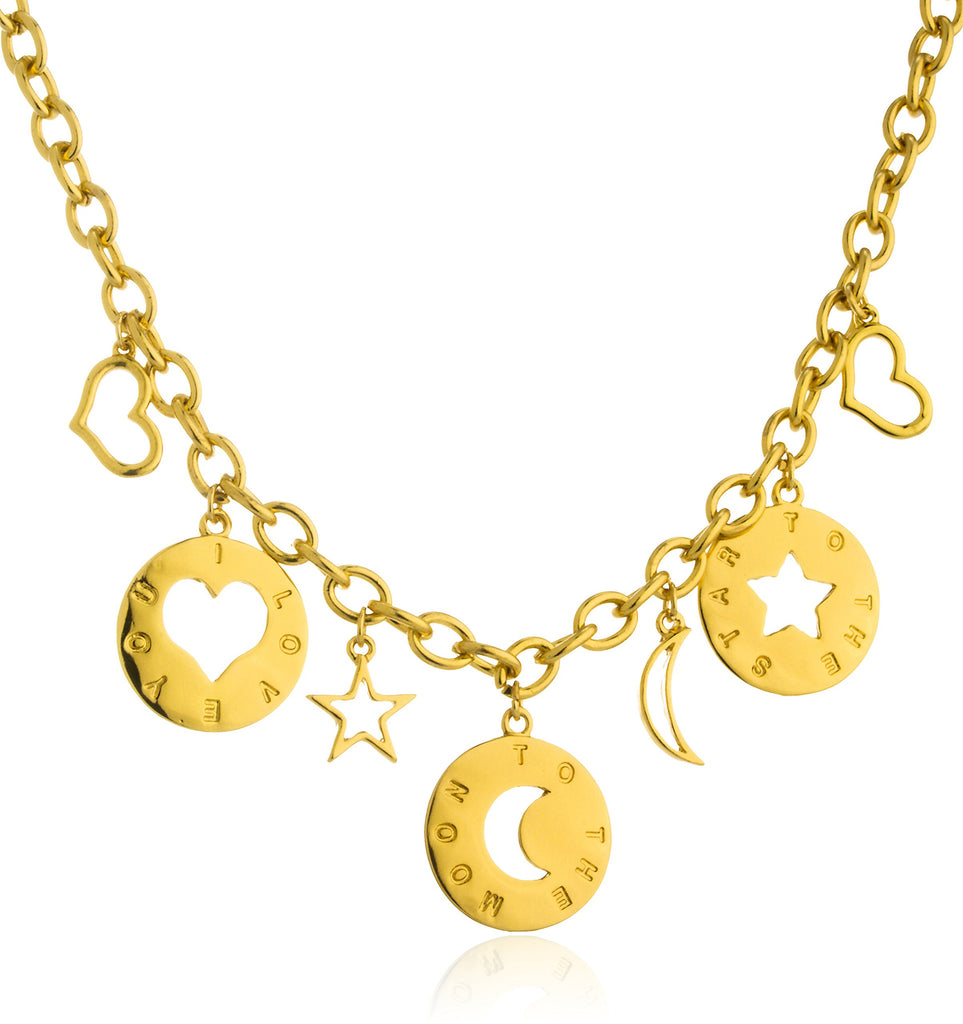Goldtone Moon And Stars Charms With...