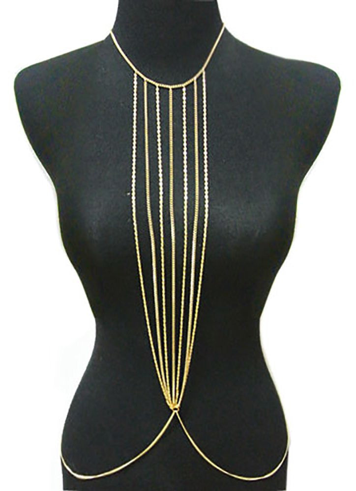 Goldtone Multi Chain Center Drop Body...