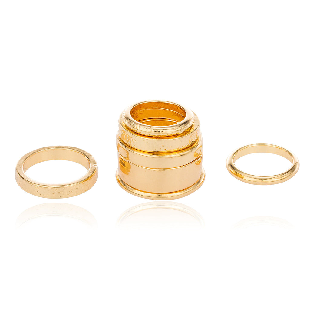 Goldtone Multi Stacked Midi And Finger...