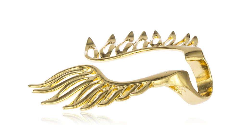 Goldtone Multisize Feather Ring - One...