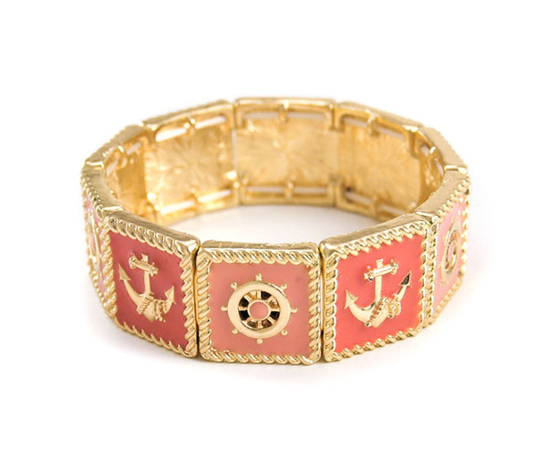 Goldtone Nautical Casting Square Stretch Bracelet With Epoxy (Peach)