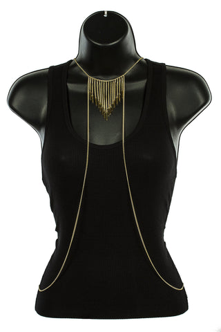 Goldtone Necklace With Chevron Style Middle Tassel Strands Body Chain