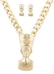 Goldtone Nefertiti Pendant With An 18.5 Inch Link Necklace And Matching Earrings Jewelry Set