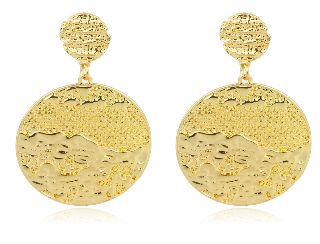 Goldtone Nugget Style Round Drop Earrings...