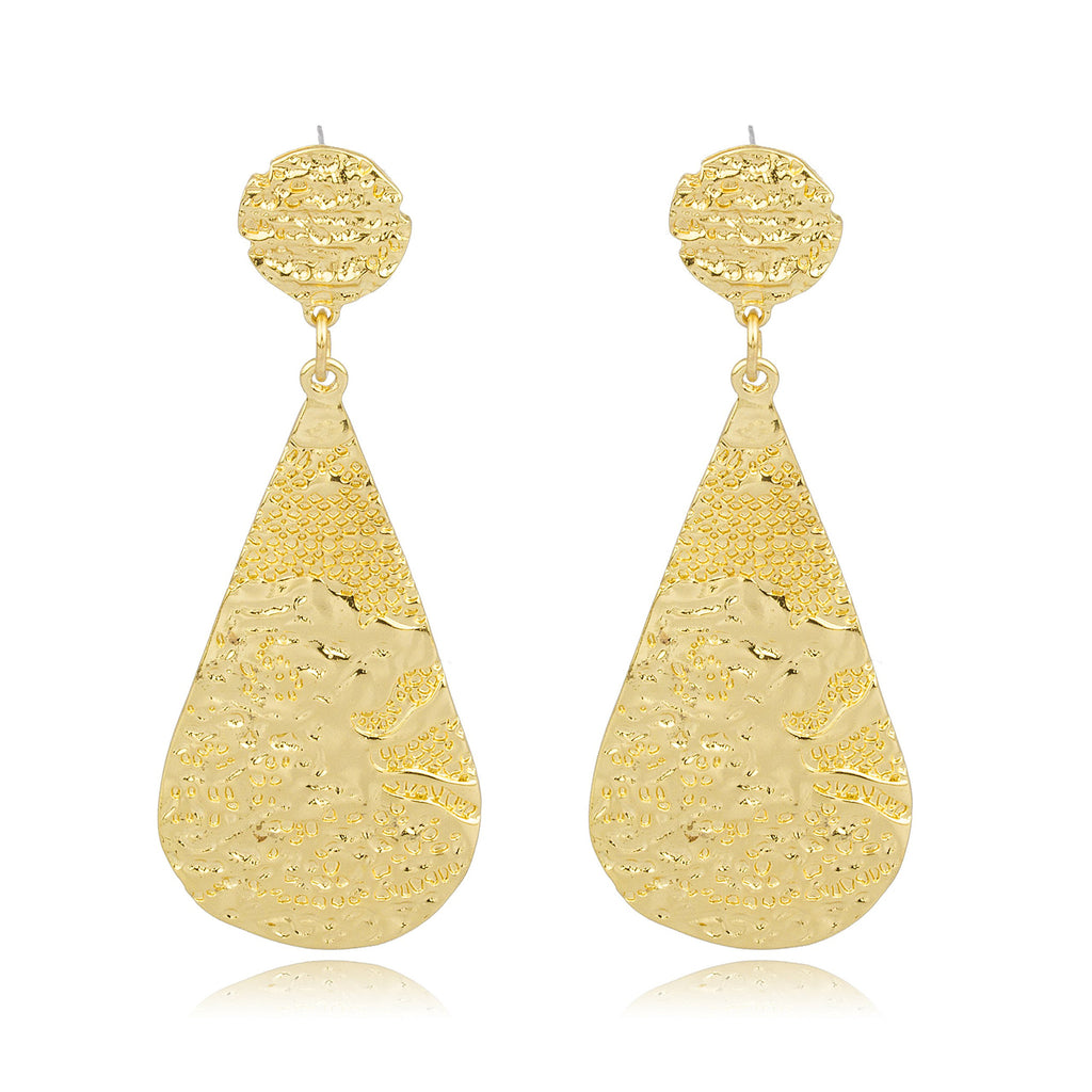 Goldtone Nugget Style Tear Drop Earrings...