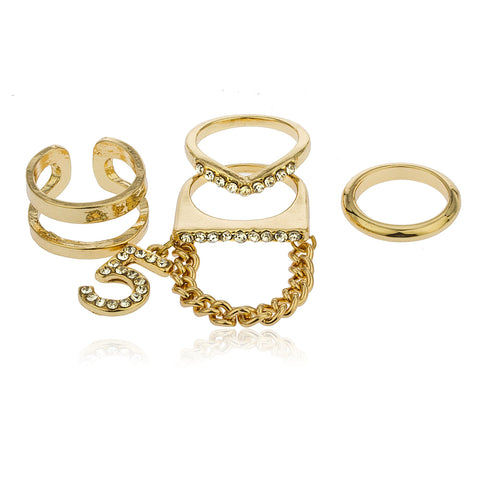 Goldtone Number 5 Layered Four Finger Ring Set With Clear Stones Sizes 5, 7,7.5, 9