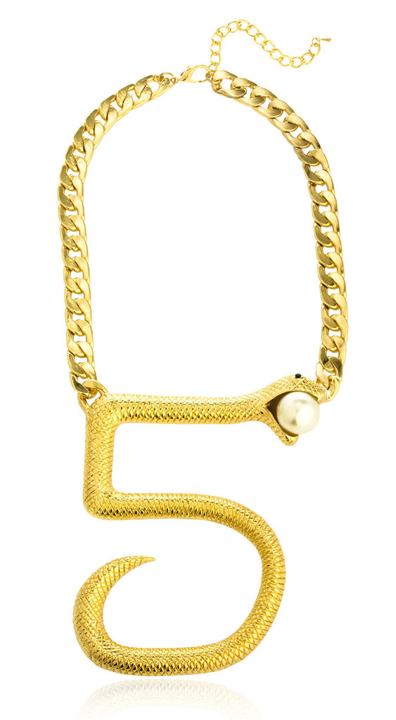 Goldtone Number 5 Shape Snake Pendant...