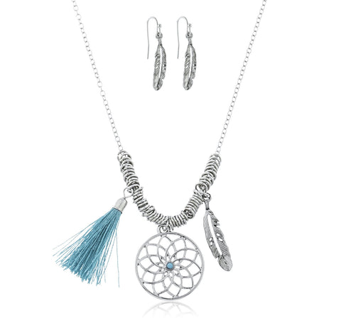 Goldtone Or Silvertone Dream Catcher, Feather, Tassel Charms Chain Necklace With Matching Earrings (Silvertone)