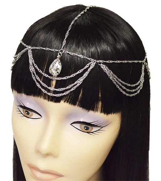 Goldtone Or Silvertone - Fancy Cluster Looped Head Chain With Teardrop Clear Stones