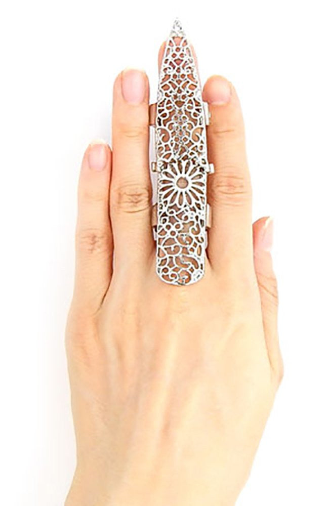 Goldtone Or Silvertone Full Finger Filigree...