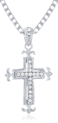 Goldtone Or Silvertone - Iced Out Cross Winged Sides With A 24 Inch Chain Necklace (Silvertone)