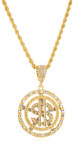 Goldtone Or Silvertone - Iced Out Dollar Sign Within Round Pattern Pendant 5mm 30 Inch Rope Chain Necklace (Goldtone)