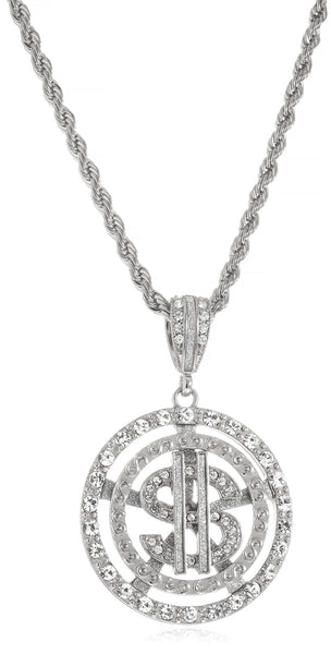 Goldtone Or Silvertone - Iced Out Dollar Sign Within Round Pattern Pendant 5mm 30 Inch Rope Chain Necklace (Silvertone)