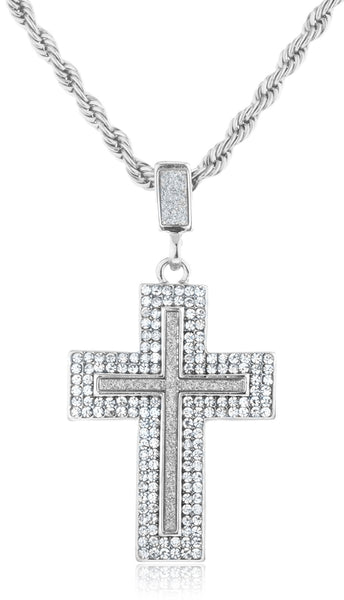 Goldtone Or Silvertone - Iced Out Sandblast Double Cross Pendant With A 24 Inch Rope Necklace (Silvertone)