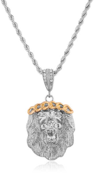 Goldtone Or Silvertone - Iced Out Sandblast Roaring Lion Pendant With A 24 Inch Rope Necklace (Silvertone)