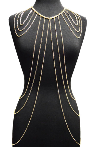 Goldtone Or Silvertone Layered Shoulder And Body Chain (Goldtone)