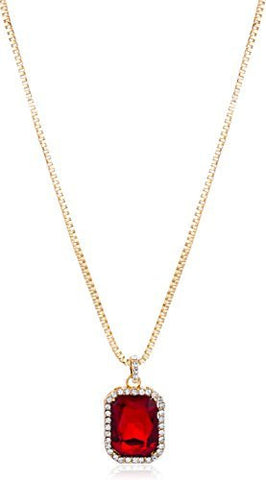 Goldtone Or Silvertone - Red Square Pendant & 24 Inch Box Necklace (Goldtone)