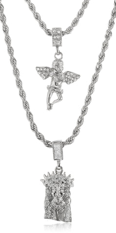 Goldtone Or Silvertone - Sandblast Double Layered Iced Out Jesus Face And Angel Pendant Necklace (Silvertone)