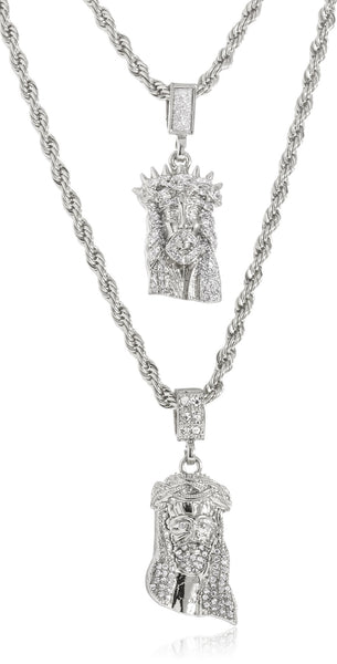 Goldtone Or Silvertone - Sandblast Double Layered Iced Out Jesus Face Pendant Necklace (Silvertone)