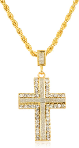 Goldtone Or Silvertone - Sandblast Iced Out Cross (Goldtone)
