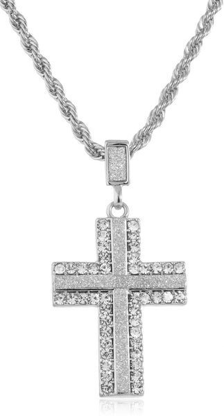Goldtone Or Silvertone - Sandblast Iced Out Cross (Silvertone)