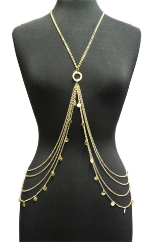 Goldtone Or Silvertone - Side Layered Body Chain