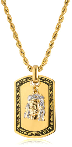 Goldtone Or Silvertone - Stainless Steel Sandblast Jesus Face Dog Tag Pendant With A 24 Inch Rope Chain (Goldtone)