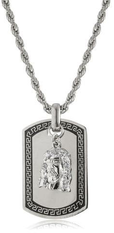 Goldtone Or Silvertone - Stainless Steel Sandblast Jesus Face Dog Tag Pendant With A 24 Inch Rope Chain (Silvertone)