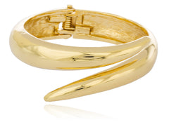Goldtone Overlapping Bar Design Adjustable Bangle Bracelet