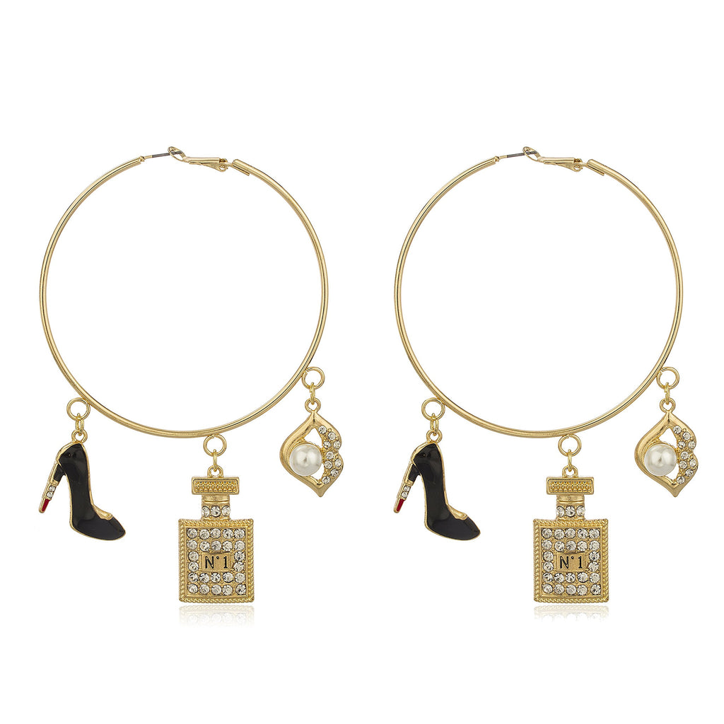 Goldtone Oversized Hoops With Black Stiletto...
