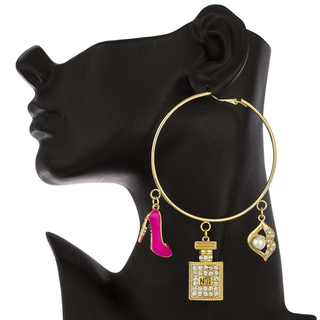 Goldtone Oversized Hoops With Hot Pink...