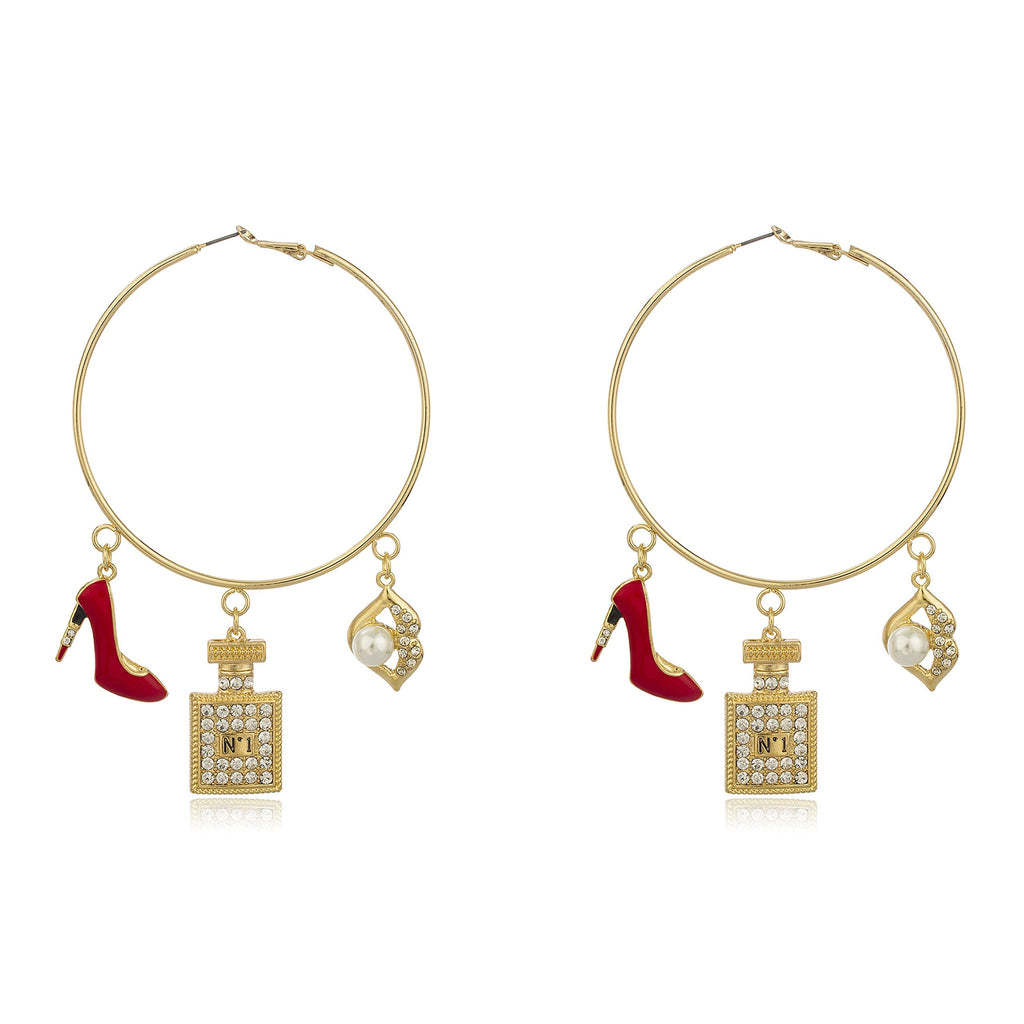 Goldtone Oversized Hoops With Red Stiletto...